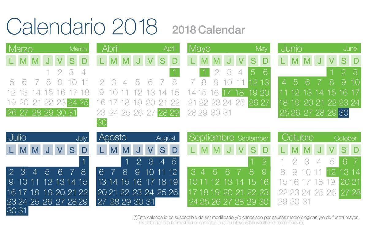 calendario mar de ons 2018