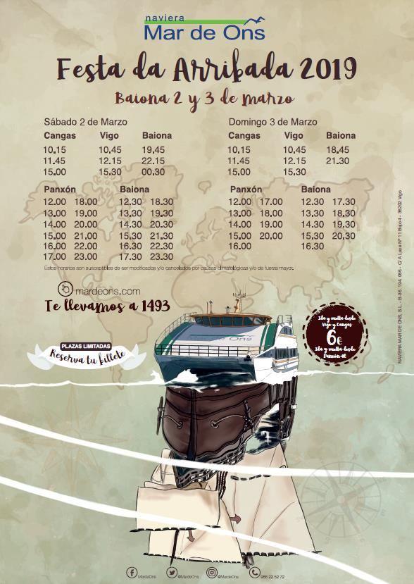 horarios barco arribada 2019