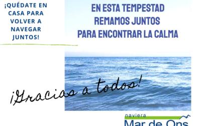 El equipo de Naviera Mar de Ons muestra su apoyo y da las gracias