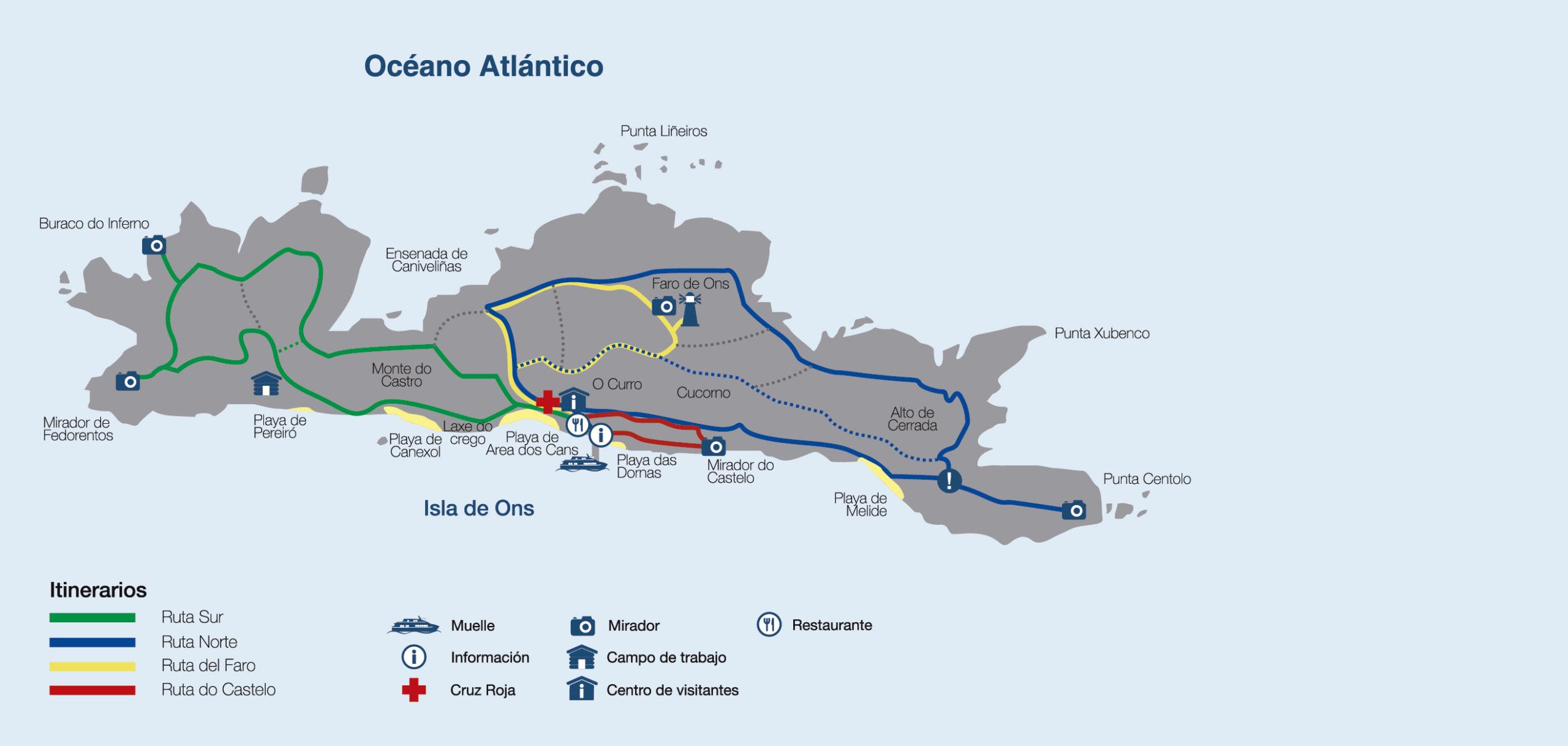 Isla De Ons Mapa.El Mapa De La Isla De Ons Sitios Clave Naviera Mar De Ons